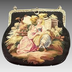 Vintage Aubusson Dual Sided Tapestry with Two Women