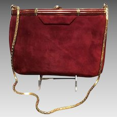 Vintage Judith Leiber Suede Bag with Gold Tone Accents