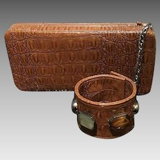 "Vintage ""Cool"" PU Leather Purse with Attached Jeweled Wristlet"