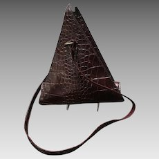 Vintage Unusual Triangular Embossed Leather Handbag