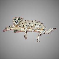 Vintage Pauline Rader Leopard Brooch with Crystals