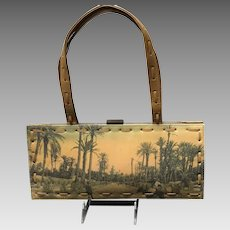VIntage Jamin Puech Hand Crafted Handbag with Unusual African Flair