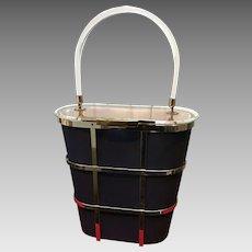 "Vintage Majestic Navy Blue ""Cage"" Handbag"