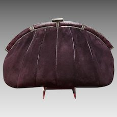 VIntage Leiber Huge Aubergine Suede Purse with Lizard Accents