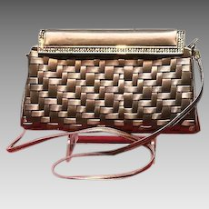 Vintage Leiber Woven Silk Evening Purse with Swarovski Crystals