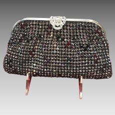 Vintage West German Blackened Rhinestone Purse with Jeweled Frame