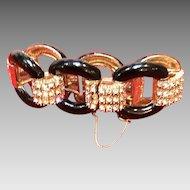 Vintage CINER Enamel Link Chunky Bracelet with Rhinestones