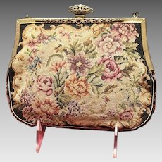 """Vintage Petit Point Floral Tapestry with Jeweled Frame """"French Bag Shop"""""""