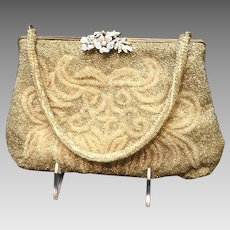 Vintage Walborg Gold Beaded Purse with Floral Rhinestone Clasp