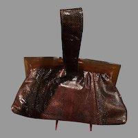 VIntage Snakeskin Handbag with Translucent Lucite Frame