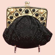 Vintage Whiting and Davis Mesh Handbag with Jeweled Frame