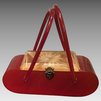 """Vintage """"Red"""" Lucite Handbag with Carved Daisy Lid"""