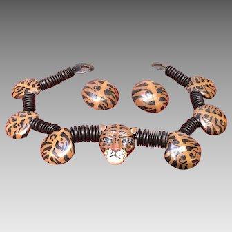 Vintage Gerda Lynggaard/Monies Rare Wood Tiger Necklace and Earrings ***Signed***