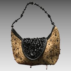 "Vintage Grace Agostino ""Leopard"" Purse with Jewels"
