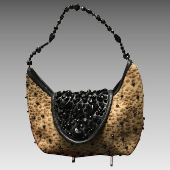 """Vintage Grace Agostino """"Leopard"""" Purse with Jewels"""