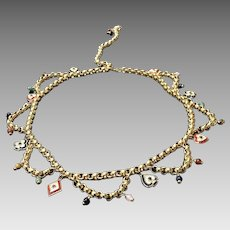 "Vintage Leiber Gold Chain ""Card"" Belt with Charms, Crystals and Semi Precious Stones"