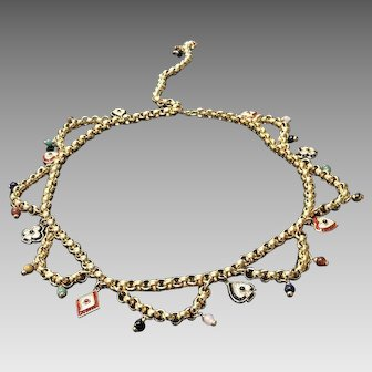 """Vintage Leiber Gold Chain """"Card"""" Belt with Charms, Crystals and Semi Precious Stones"""