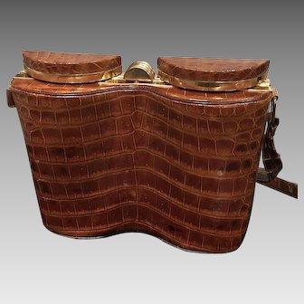 "Vintage Alligator Mexican ""Deco Binoculars"" Structural Handbag"