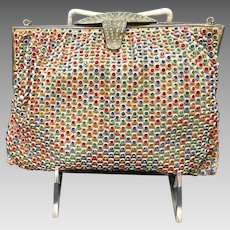 Vintage Multi Colored Stones Jeweled Purse with Ornate Frame