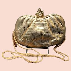 In Antique Art Nouveau Gold Daisy Filigree Frame Brown Copper Iridescent Bead Purse Fashionable Style;