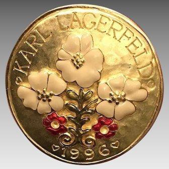 Vintage Lagerfeld Enameled Floral Brooch 1996