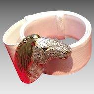 "Vintage Leiber ""Horse"" Head Karung Belt with Swarovski Crystals"