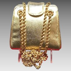 Vintage Leiber Gold Snakeskin Evening Bag with Chunky Chains