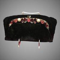 Vintage Ingber Foldover Velvet Purse with Jeweled Frame