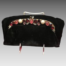 Vintage Ingber Foldover Velvet Purse with Jeweled Frame