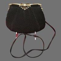"""Vintage Leiber Plisse Satin Purse """"Deco""""Frame with Crystals/Enameling"""