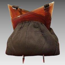 """Vintage Handbag with Translucent Lucite """"Deco"""" Frame"""