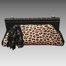 """Vintage Anthony Luciano Huge """"Leopard"""" Handbag with Carved Frame and Decorative Accents"""