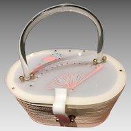 Vintage Suki Originals Basket Purse with Haind Painted Lucite Lid
