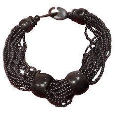 """Vintage Gerda Lynggaard """"Monies"""" Black Horn Choker Necklace"""