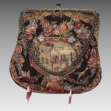 VIntage Petit Point Scenic/Floral Tapestry with Unusual Frame