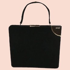 Vintage Koret Mid Century Noncrockable Suede Handbag with Structural Styling