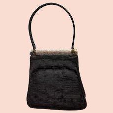 VIntage Leiber Pleated Silk Evening Bag with Swarovski Crystals
