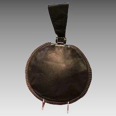 VIntage Leather Circle Handbag with Ruffled Trim