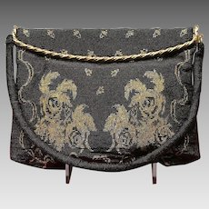 Vintage French Steel Beaded Purse with Decorative Gold Trim