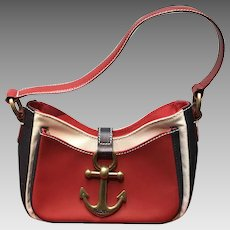 Vintage Moschino Nautical Leather and Canvas Satchel Handbag ***NWOT***