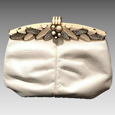 Vintage Finesse La Model Karung Purse with Enameling and Stones