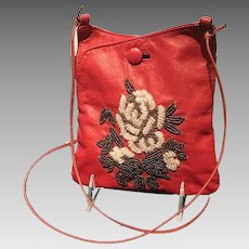 Vintage Jamin Puech Leather Cross Body Pouch with Beading