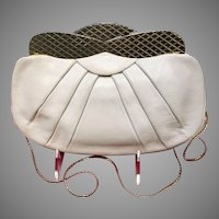 Vintage Judith Leiber White Leather Purse with Unusual Gold Frame