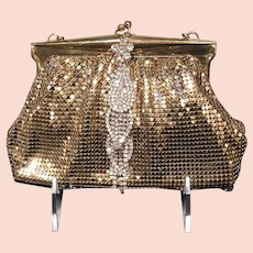 VIntage Whiting and Davis Gold Mesh Purse with Rhinestones
