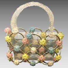 Vintage Funky Metal Hoops and Plastic Beaded Handbag
