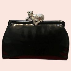 "Vintage Leiber Patent Leather Purse with Crystal ""Leopard"""