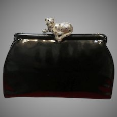 """Vintage Leiber Patent Leather Purse with Crystal """"Leopard"""""""