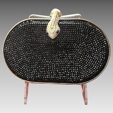Vintage Leiber Style Minaudiere with Snake Clasp and Swarovski Crystals