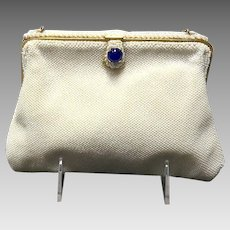 Vintage French White Beaded Evening Bag with Ornate Tab ***NWOT***