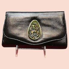 Vintage Jacomo Lizard Clutch Bag with Bakelite Ornament